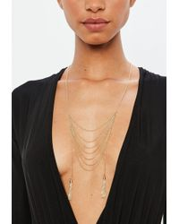 Missguided - Gold Multi Row Necklace - Lyst