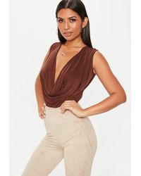 e174a85098 Missguided - Chocolate Slinky Cowl Neck Bodysuit - Lyst