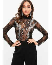 Missguided - Black Lace High Neck Diamante Bodysuit - Lyst