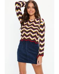 Missguided - Burgundy Chevron Knitted Sweater - Lyst