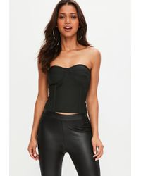 Missguided - Black Bandage Corset Top - Lyst