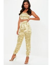Missguided - Gold Oriental Jacquard Combat Trousers - Lyst
