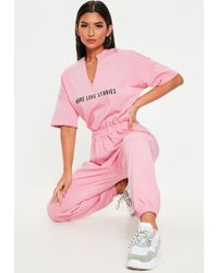 99e1e2d41ad Missguided - Pink More Love Stories T Shirt Jumpsuit - Lyst