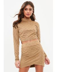 Missguided - Tan High Neck Stud Suedette Crop Top - Lyst