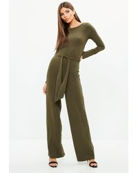 Missguided - Khaki Ribbed High Neck Skinny Leg Jumpsuit - Lyst