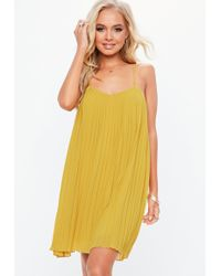 Missguided - Mustard Strappy Pleated Swing Dress - Lyst