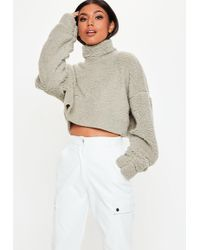 Missguided - Stone Teddy High Neck Cropped Sweatshirt - Lyst