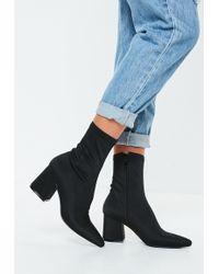 Missguided - Black Mid Heel Sock Boots - Lyst