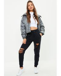 Missguided - Navy Ripped Front Jogger - Lyst