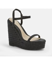 3db8a8440fe Missguided Studded Strap Wedge Sandal in Natural - Lyst