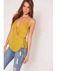 Missguided   Satin Wrap Tie Cami Top Chartreuse Green   Lyst