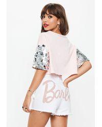 Missguided - Barbie X White Matte Logo Denim Shorts - Lyst