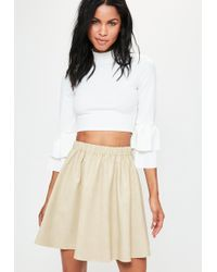 Missguided - Cream Faux Leather Gathered Waist Mini Skirt - Lyst