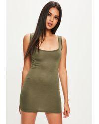 Missguided - Khaki Square Neck Bodycon Dress - Lyst