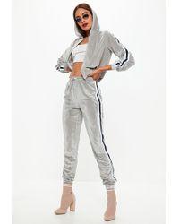 Missguided - Grey Velvet Striped Hood And Bottoms Set - Lyst