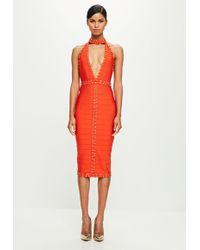 Missguided | Peace + Love Orange High Neck Mini Dress | Lyst