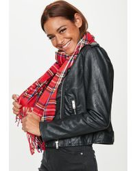 Missguided - Red Brushed Check Scarf - Lyst
