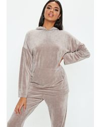 Missguided - Tall Grey Velour Oversized Hoody - Lyst