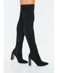 a91f1c1b3092 Missguided - Black Pointed Toe Over The Knee Faux Suede Boots - Lyst