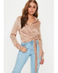 Missguided - Bronze Tie Side Satin Blouse - Lyst
