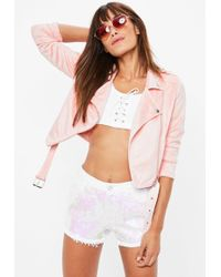 Missguided - Pink Cropped Faux Suede Biker Jacket - Lyst