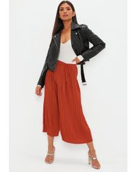 Missguided - Rust Pleated Culottes - Lyst