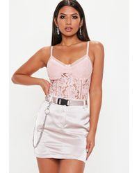 Missguided - Pink Sports Tape Lace Cami Top - Lyst