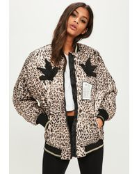 Missguided - Brown Animal Print Bomber Jacket - Lyst