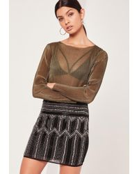 Missguided - Premium All Over Embellished Mini Skirt - Lyst
