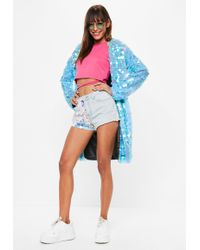 Missguided - Blue Sequin Duster Coat - Lyst
