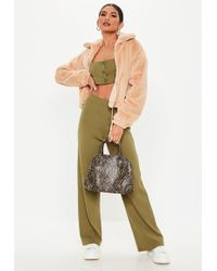 Missguided - Green Ribbed Co Ord Trousers - Lyst