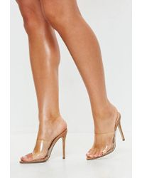 Missguided - Brown Cork Clear Pointed Toe Heeled Mules - Lyst