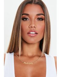 Missguided - Playboy X Gold Thin Chain Necklace - Lyst