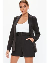 Missguided - Black Co Ord Belted Tailored Shorts - Lyst