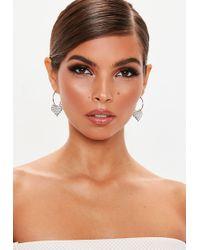 Missguided - Silver Look Diamante Pixel Heart Hoop Earrings - Lyst