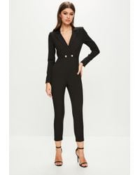b07235b6aa2 Missguided - Peace + Love Long Sleeve Double Button Jumpsuit - Lyst