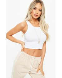 Missguided - White Ribbed Sleeveless Crop Top - Lyst