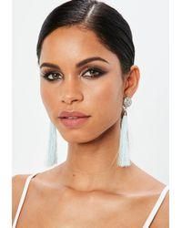 Missguided - Green Diamante Tassel Earrings - Lyst