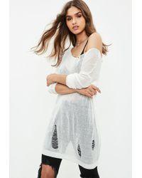 Missguided - White Sheer Laddered Oversized Knitted Jumper - Lyst