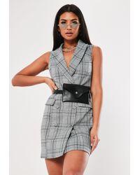 Missguided - Grey Heritage Check Sleeveless Blazer Dress - Lyst