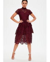 Missguided - Burgundy Short Sleeve Lace Midi Skater Dress - Lyst