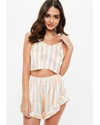 Missguided - Peach Pastel Stripe Satin Cami Shorts Pyjama Set - Lyst