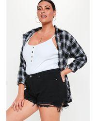 Missguided Plus Size Black Extreme Rip Hem High Waist Shorts