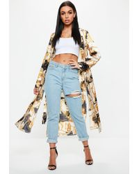 Missguided - Yellow Chain Print Duster Jacket - Lyst