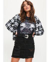 Missguided | Mini Denim Ripped Skirt Black | Lyst