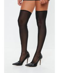 Missguided - Black Mesh Over The Knee Sock Boots - Lyst