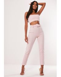 Missguided - Pink Co Ord Stretch Crepe Belted Cigarette Trousers - Lyst