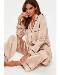 Missguided Mink Long Sleeve Piped Trim Pyjama Set
