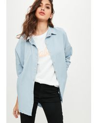 Missguided | Blue Oversized Washed Denim Shirt | Lyst