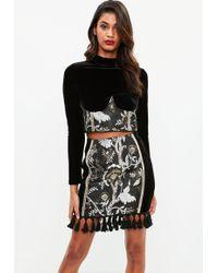 Missguided - Black Jaquard Zip Tassel Mini Skirt - Lyst